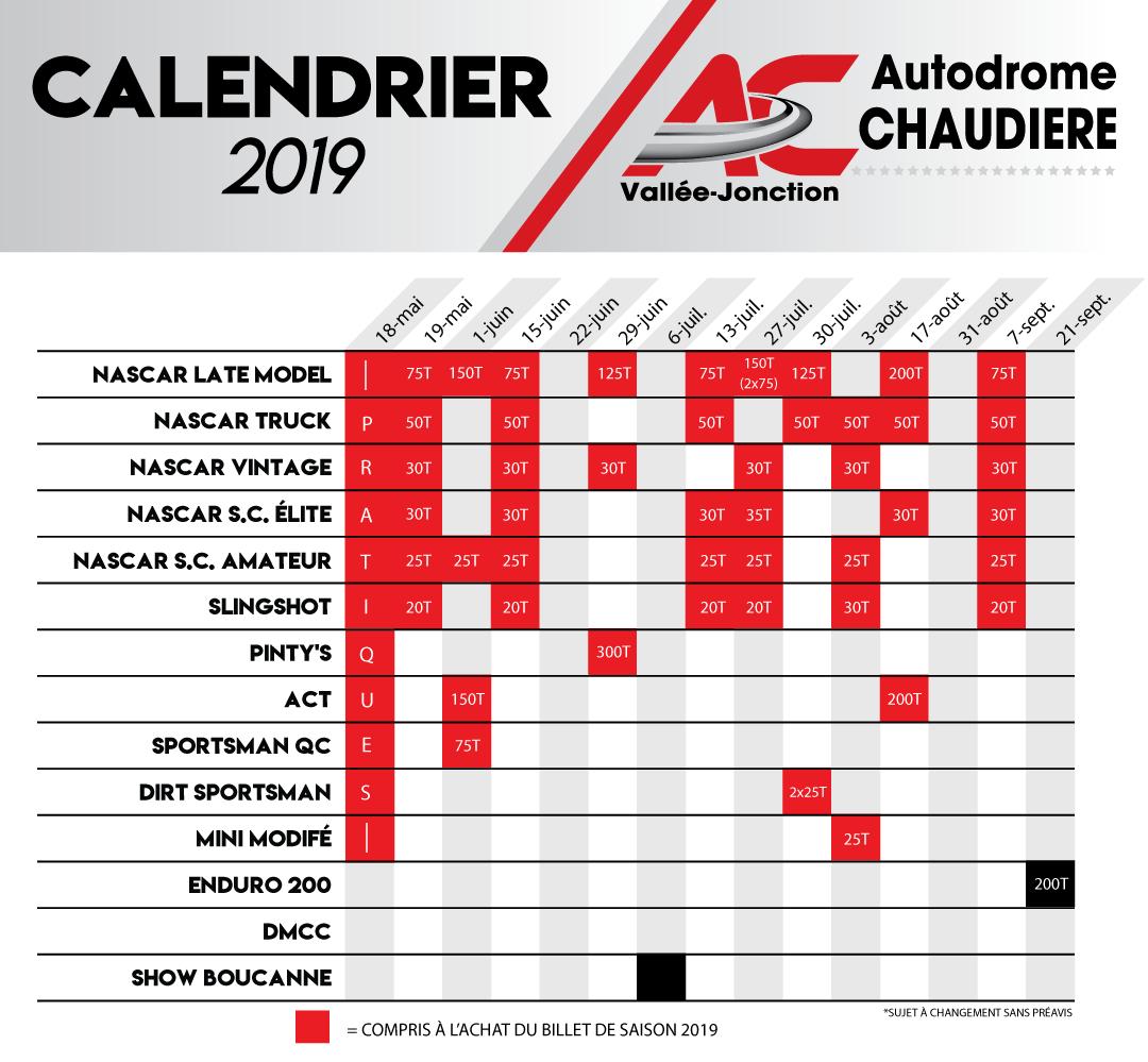 Calendrier Nascar.Calendrier 2019 Autodrome Chaudiere