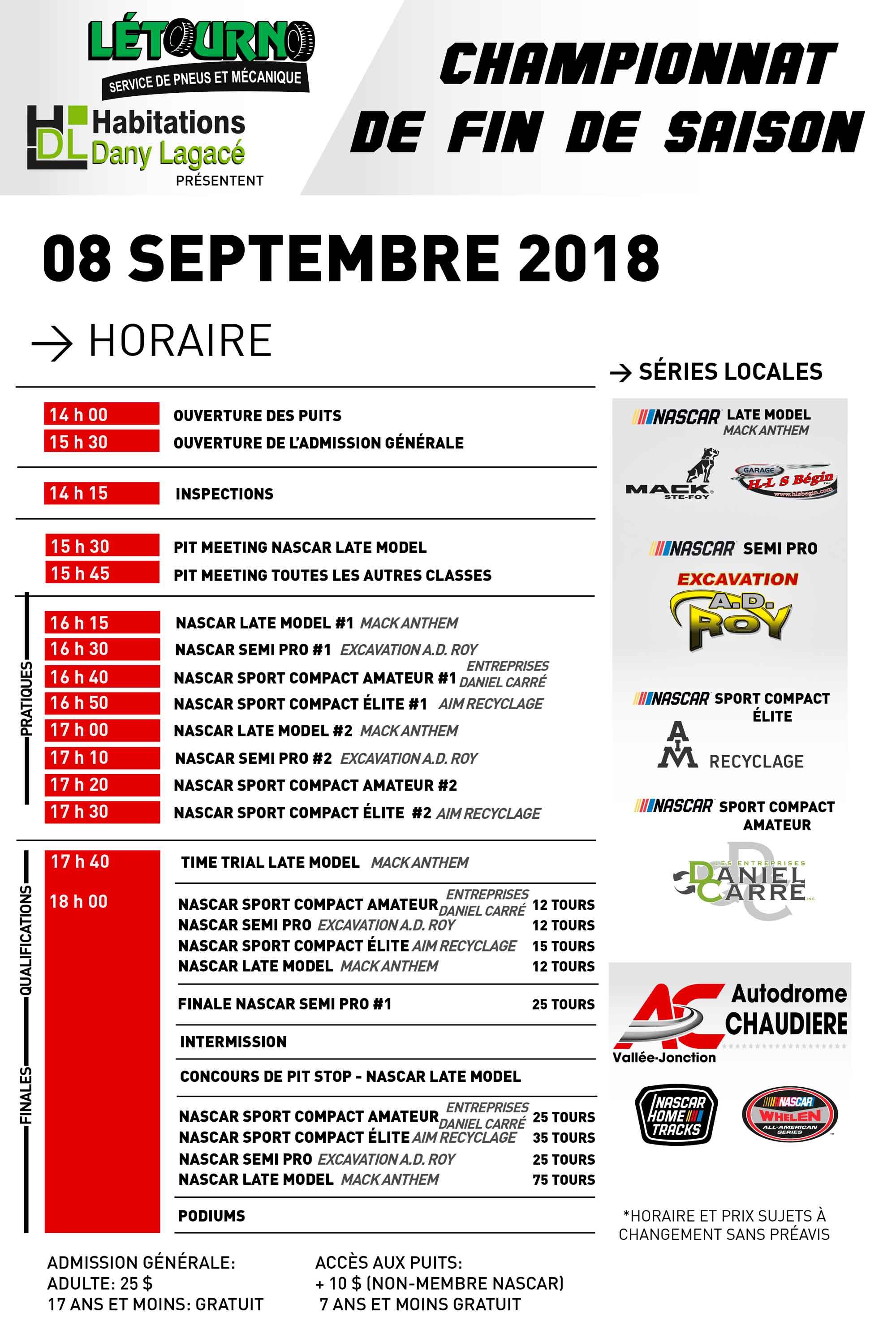Finale du championnat locale à l'Autodrome Chaudière _18_09_08__Horaire